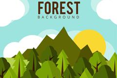 扁平化绿色森林风景矢量素材