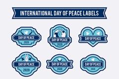 9款蓝色国际和平日标签矢量图