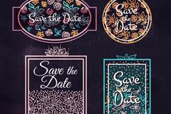 4款彩绘花卉婚礼标签矢量素材