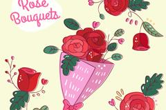 红色玫瑰花束和玫瑰矢量素材