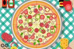 美味披萨和原料俯视图矢量素材