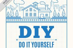 蓝色DIY房屋海报矢量素材