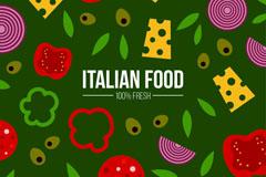 意大利披萨原料无缝背景矢量图