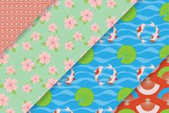 4款彩色日本元素无缝背景矢量图