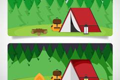 森林探险白天和黑夜banner矢量图