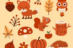 15款可爱秋季动物和植物矢量图