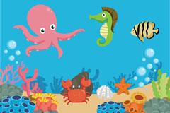 创意海底世界动植物矢量素材