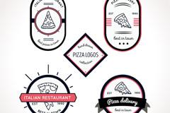 5款意大利披萨餐馆标签矢量图