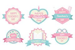 8款粉色教师节标签矢量素材