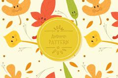 秋季表情叶子无缝背景矢量素材