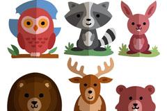 6款扁平化可爱动物矢量素材