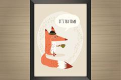 可爱喝茶的狐狸挂画矢量素材