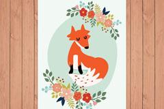 彩色花卉和狐狸卡片矢量素材
