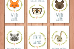 5款森林动物头像卡片矢量素材