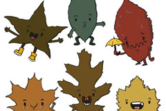 6款卡通表情叶子矢量梦之城娱乐