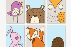 6款可爱动物卡片矢量素材