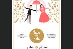 创意新郎新娘婚礼邀请卡矢量素材