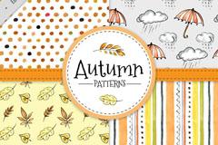 4款彩绘秋季元素无缝背景矢量图