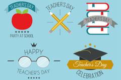 5款创意教师节徽章矢量素材