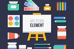 17款彩色艺术工作室元素矢量图