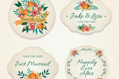 4款彩色花卉婚礼标签矢量素材