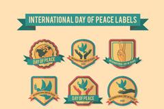 9款复古国际和平日标签矢量素材