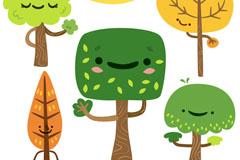 5款可爱表情树木矢量素材