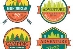 4款彩色野外探险标签矢量素材