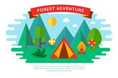 扁平化森林野营帐篷矢量素材