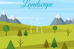 绿色山地与风车风景矢量素材