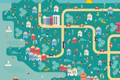 创意城市风景与人群矢量优发娱乐