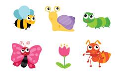 9款可爱昆虫和花卉矢量素材