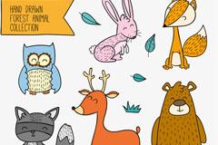 6款彩绘笑脸森林动物矢量图