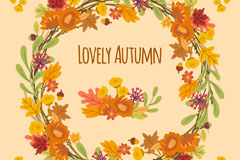 创意秋季树叶花环矢量素材