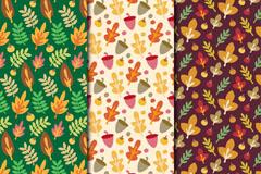 3款彩色秋季叶子无缝背景矢量图