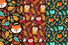 3款彩色树叶和动物无缝背景矢量图