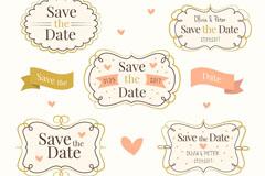 5款手绘婚礼标签矢量素材