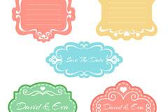 5款彩色花纹婚礼标签矢量素材