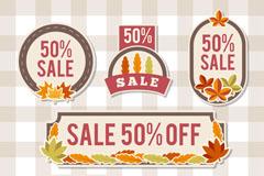 6款树叶装饰秋季半价促销标签矢量图