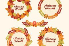 4款创意秋季树叶花环矢量素材