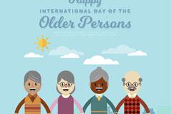 创意国际老年人日拉手老人矢量图