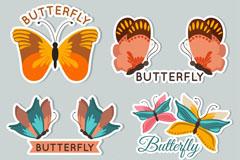 5款彩色蝴蝶标签矢量素材