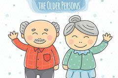 卡通招手的老夫妇矢量优发娱乐
