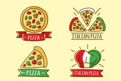 6款手绘意大利披萨标签矢量图