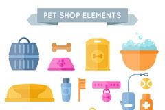 18款扁平化宠物用品矢量素材