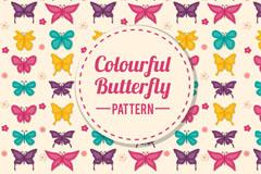 彩色质感蝴蝶无缝背景矢量图