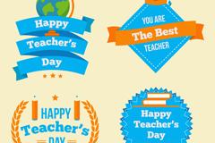 4款蓝色教师节祝福标签矢量素材