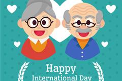 可爱老人头像国际老年人节贺卡矢量图