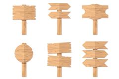 6款扁平化木质路牌矢量素材