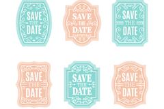 6款蓝色和粉色婚礼标签矢量图